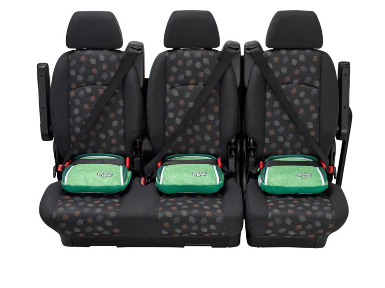 BubbleBum narrow car booster seat three across back seat shamrock design