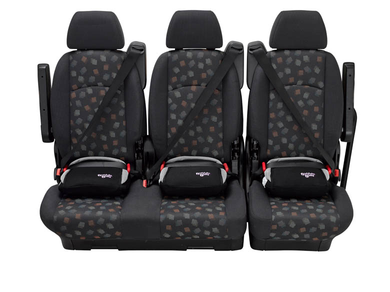 BubbleBum narrow car booster seat three across back seat black design