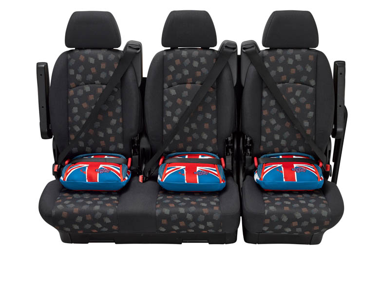 BubbleBum narrow car booster seat three across back seat union jack design