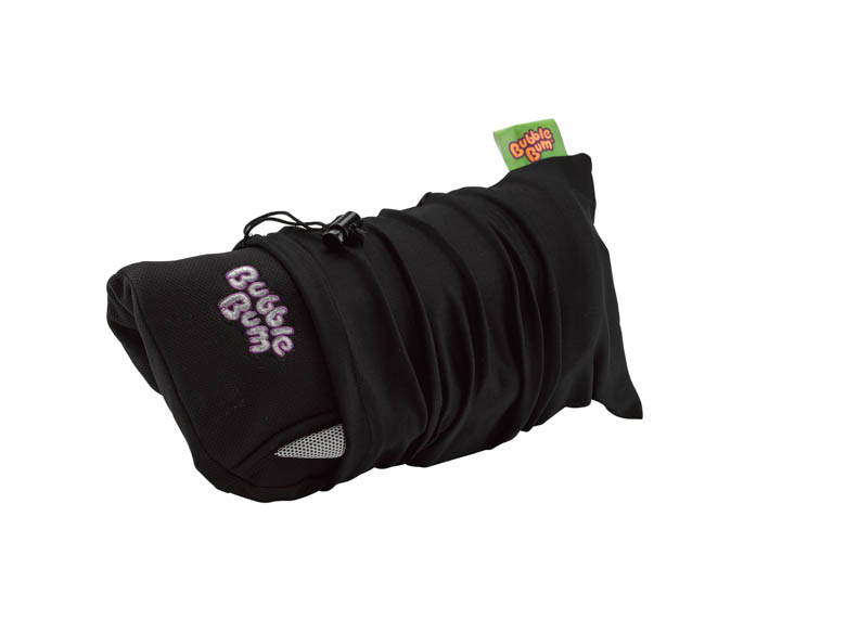 Black Bubblebum Booster Seat rolled up in carry bag
