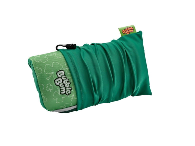 BubbleBum Inflateable car booster seat shamrock design rolled up in carry bag