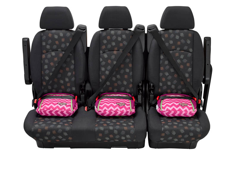 BubbleBum narrow car booster seat three across back seat pink design