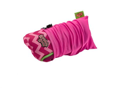 BubbleBum Inflateable car booster seat pink design rolled up in carry bag