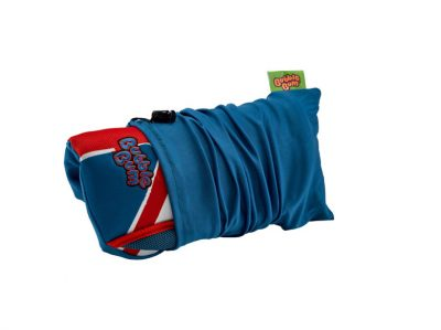Union Jack Bubblebum Booster Seat rolled up in carry bag